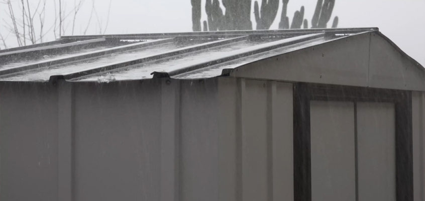 ►Real Rain and Thunder on a tin roof storage shed. 1080p actual rain video.